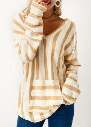 Buy online V Neck Long Sleeve Striped Pocket Sweater