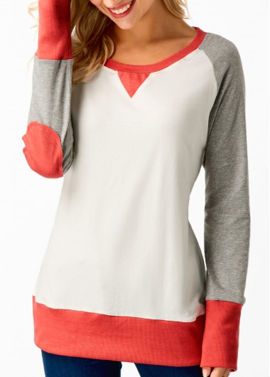 Buy online Long Sleeve Patchwork Round Neck T Shirt