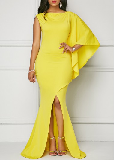 Buy online One Sleeve Yellow Front Slit Maxi Dress