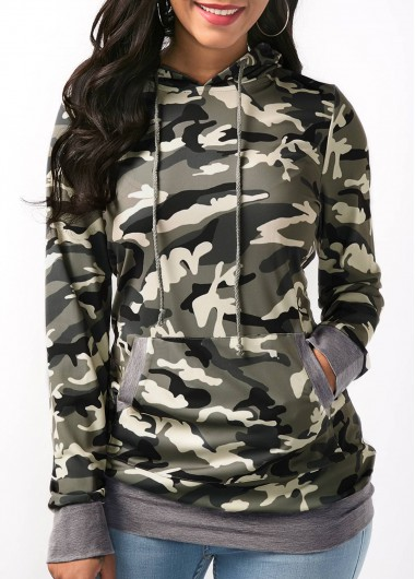Buy online Camo Print Pocket Long Sleeve Drawstring Hoodie