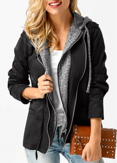 Buy online Hooded Collar Long Sleeve Zipper Up Coat