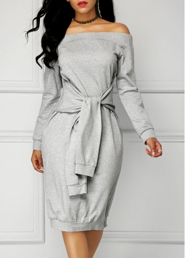 Buy online Grey Tie Front Long Sleeve Bardot Dress