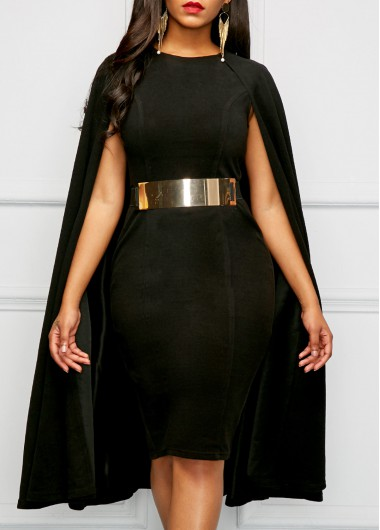 Buy online Black Round Neck Cape Sheath Dress