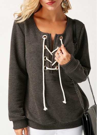 Buy online Lace Up Long Sleeve Grey Sweatshirt