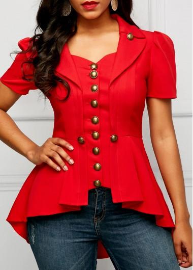 Asymmetric Hem Button Embellished Red Blouse