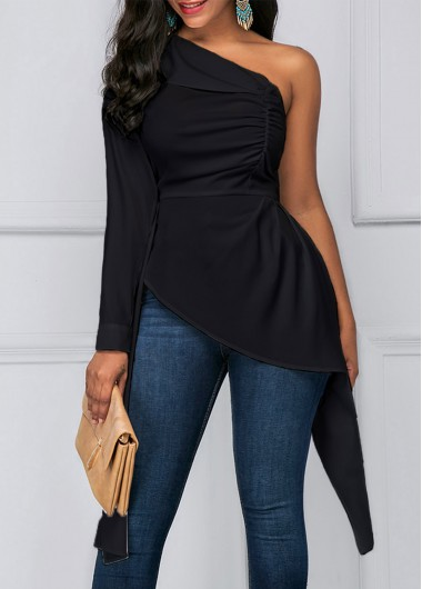 Buy online Asymmetric Hem One Shoulder Black Blouse