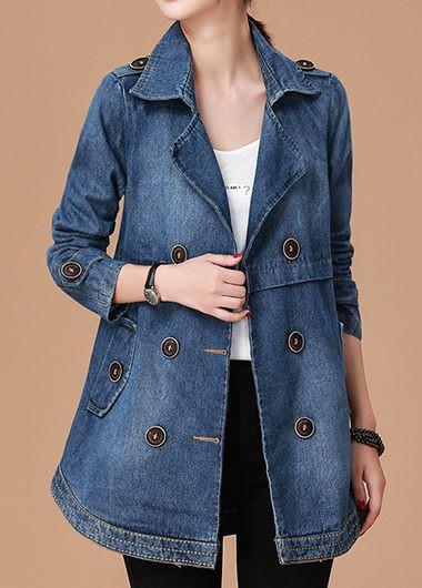 Buy online Notch Collar Button Embellished Long Sleeve Denim Coat
