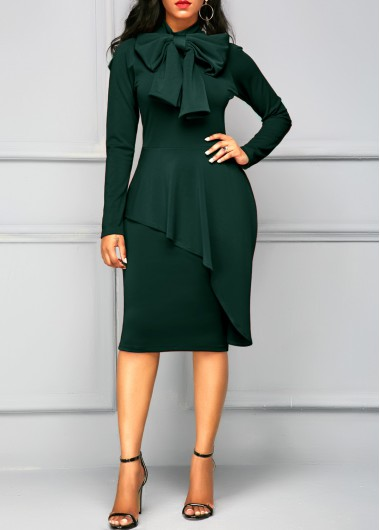 Buy online Long Sleeve Tie Neck Peplum Waist Dress
