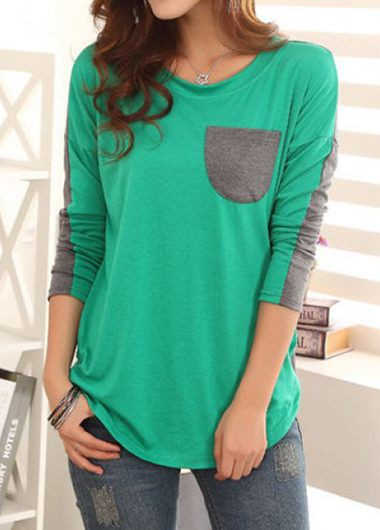 Buy online Long Sleeve Pocket Embellished Green T Shirt