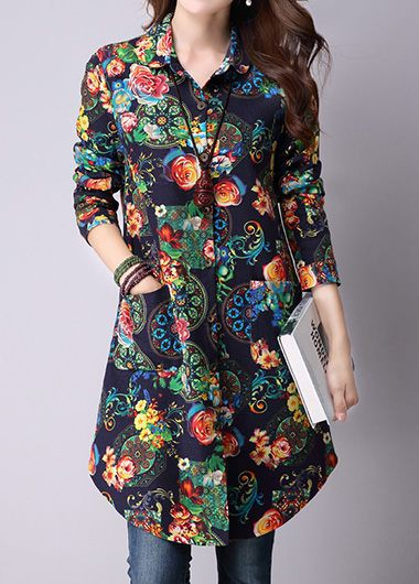 Buy online Pocket Flower Print Button Up Shirt