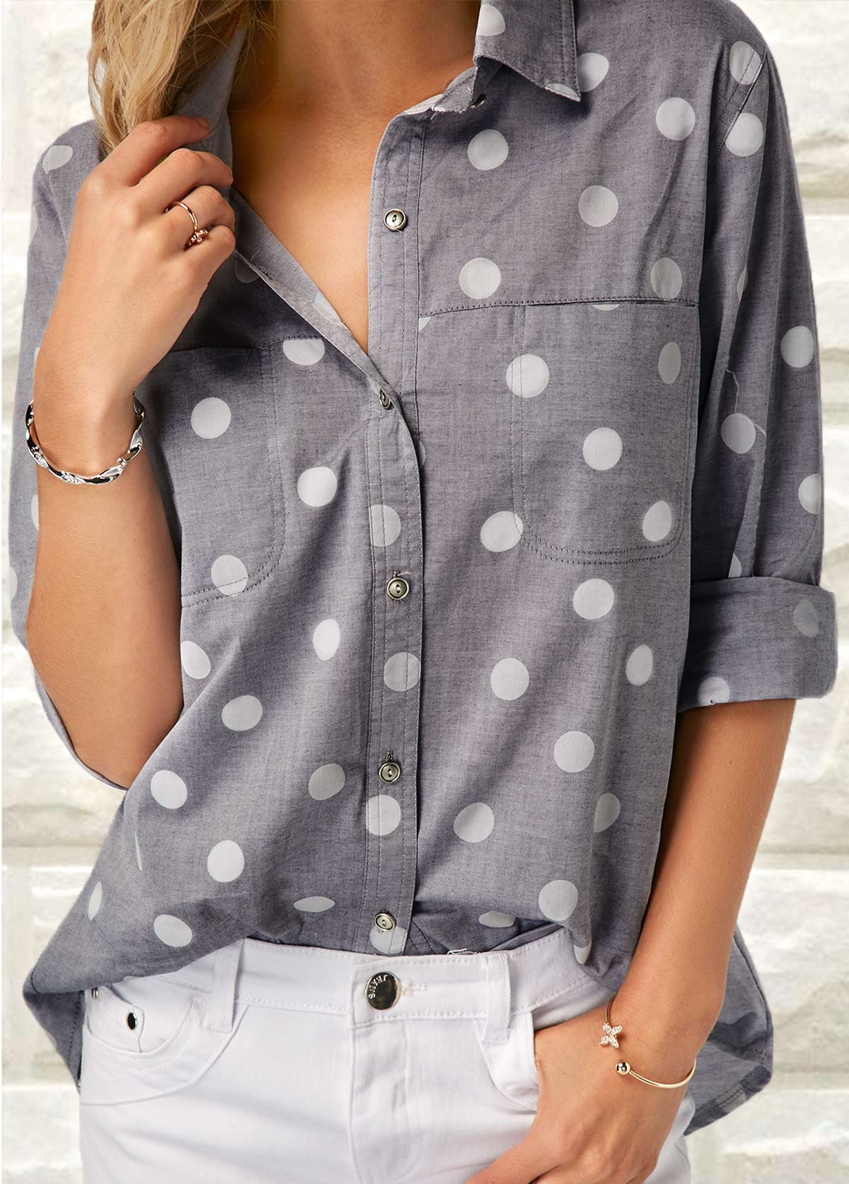 Grey Turndown Collar Polka Dot Print Shirt