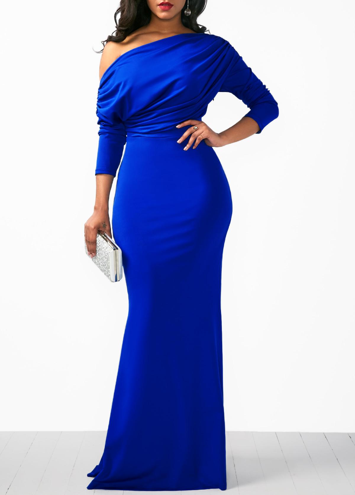 three quarter sleeve blue mermaid dress usd 35 06