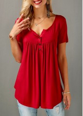Short-Sleeve-Split-Neck-Red-Curved-Blouse