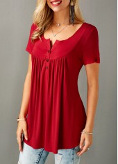 wholesale Short Sleeve Split Neck Red Curved Blouse