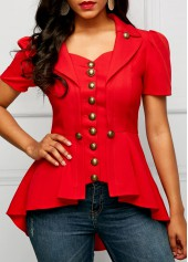 wholesale Asymmetric Hem Button Embellished Red Blouse