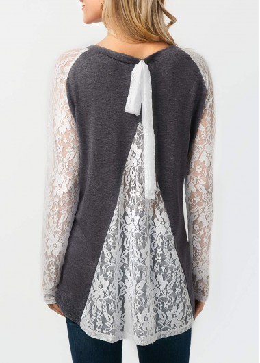 Lace Patchwork Long Sleeve Grey Blouse