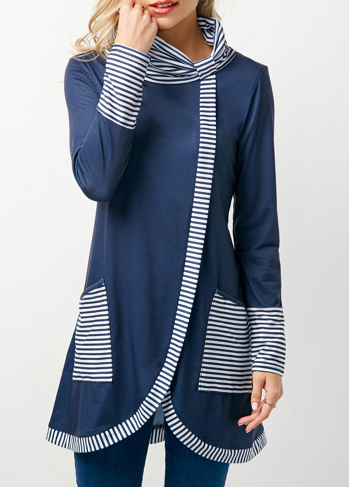 Cowl Neck Asymmetric Hem Stripe Print Navy T Shirt