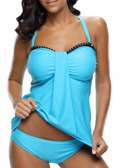 wholesale Cross Back Patchwork Tankini Top and Panty