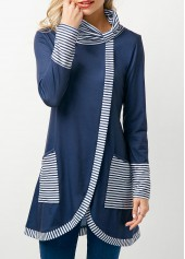wholesale Cowl Neck Asymmetric Hem Stripe Print Navy T Shirt