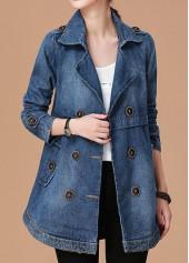 Notch-Collar-Button-Embellished-Long-Sleeve-Denim-Coat