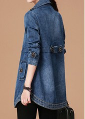 wholesale Notch Collar Button Embellished Long Sleeve Denim Coat