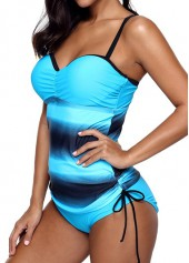 wholesale Blue Criss Cross Drawstring Side Tankini Set