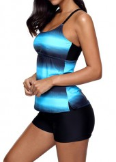 wholesale Blue Strappy Back Printed Tankini Top and Shorts
