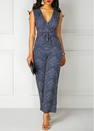 V Neck High Waist Printed Sleeveless Jumpsuit
