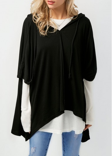 Image of Asymmetric Hem Black Hoodie and T Shirt