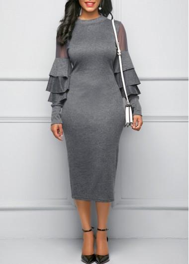 Layered Bell Sleeve Mesh Panel Grey Sheath Dress