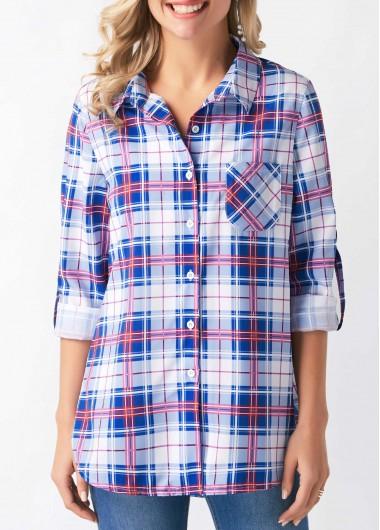 Plaid Print Long Sleeve Button Up Shirt