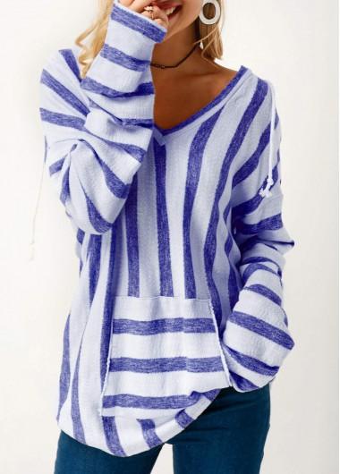 Hooded Collar Pocket Long Sleeve Striped T Shirt
