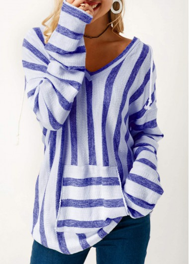 Hooded Collar Pocket Long Sleeve Striped T Shirt