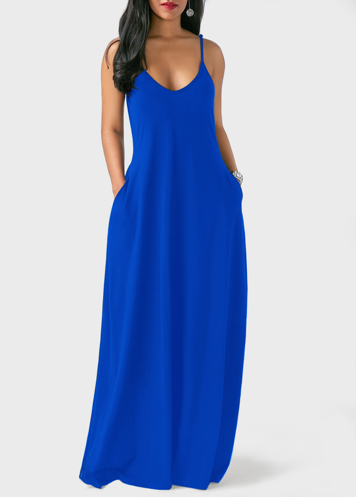 24d1b74e54 Royal Blue Spaghetti Strap Maxi Dress