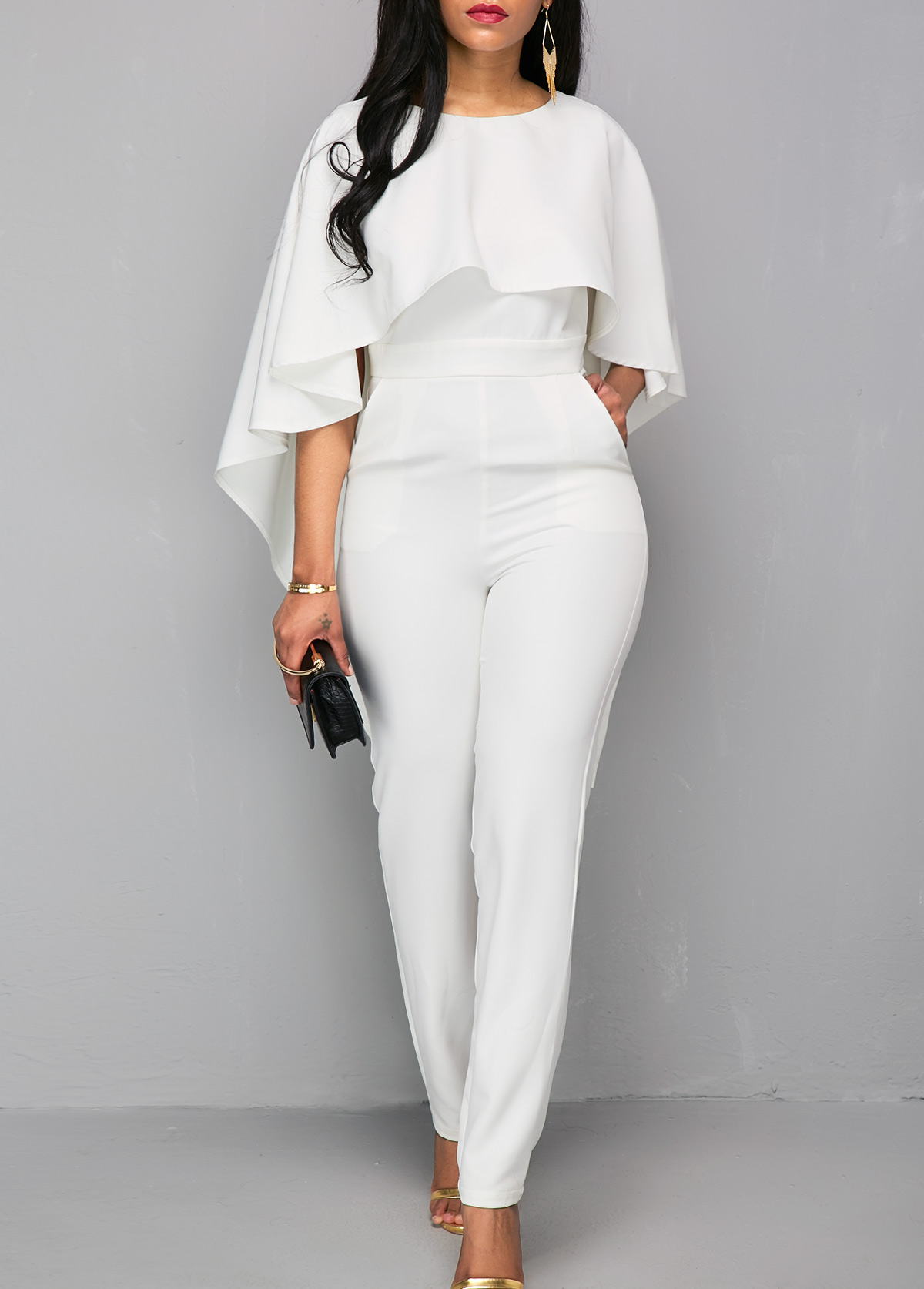 V Back Zipper Closure White Cloak Jumpsuit