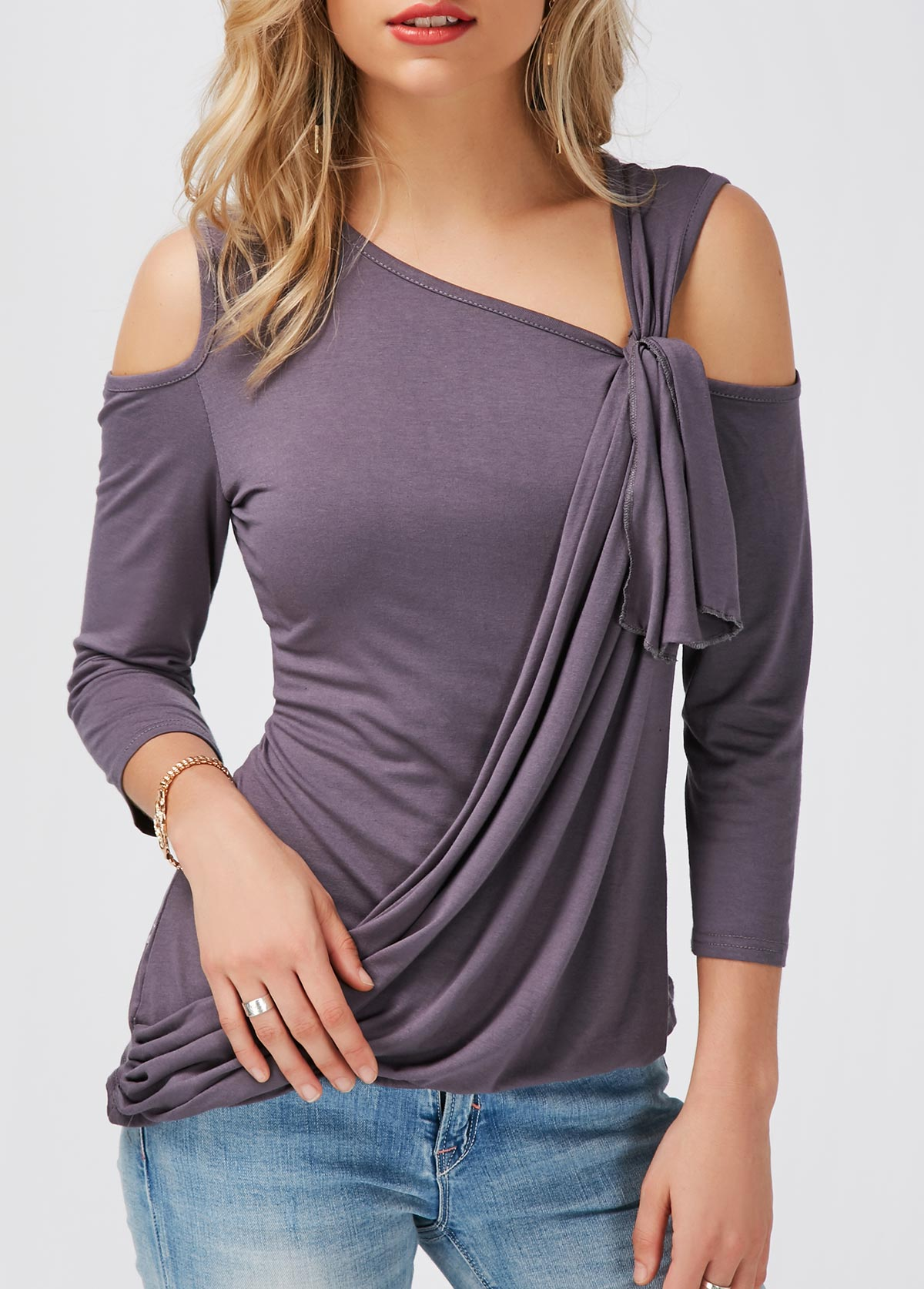 Cold Shoulder Asymmetric Hem Deep Grey T Shirt