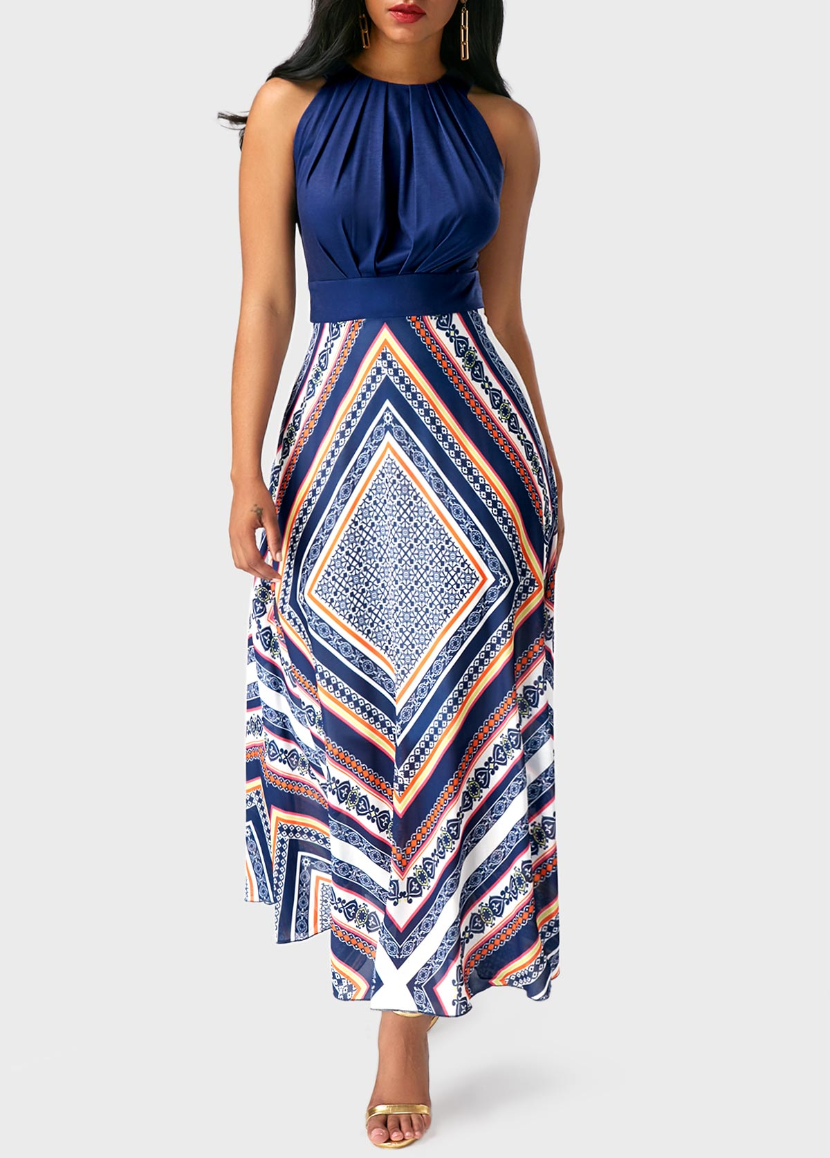 Sleeveless Band Waist Printed Maxi Dress