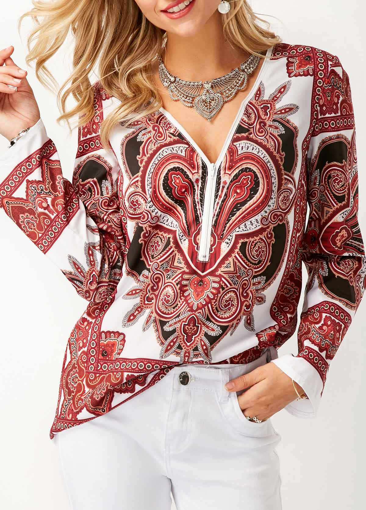 Long Sleeve V Neck Printed Blouse