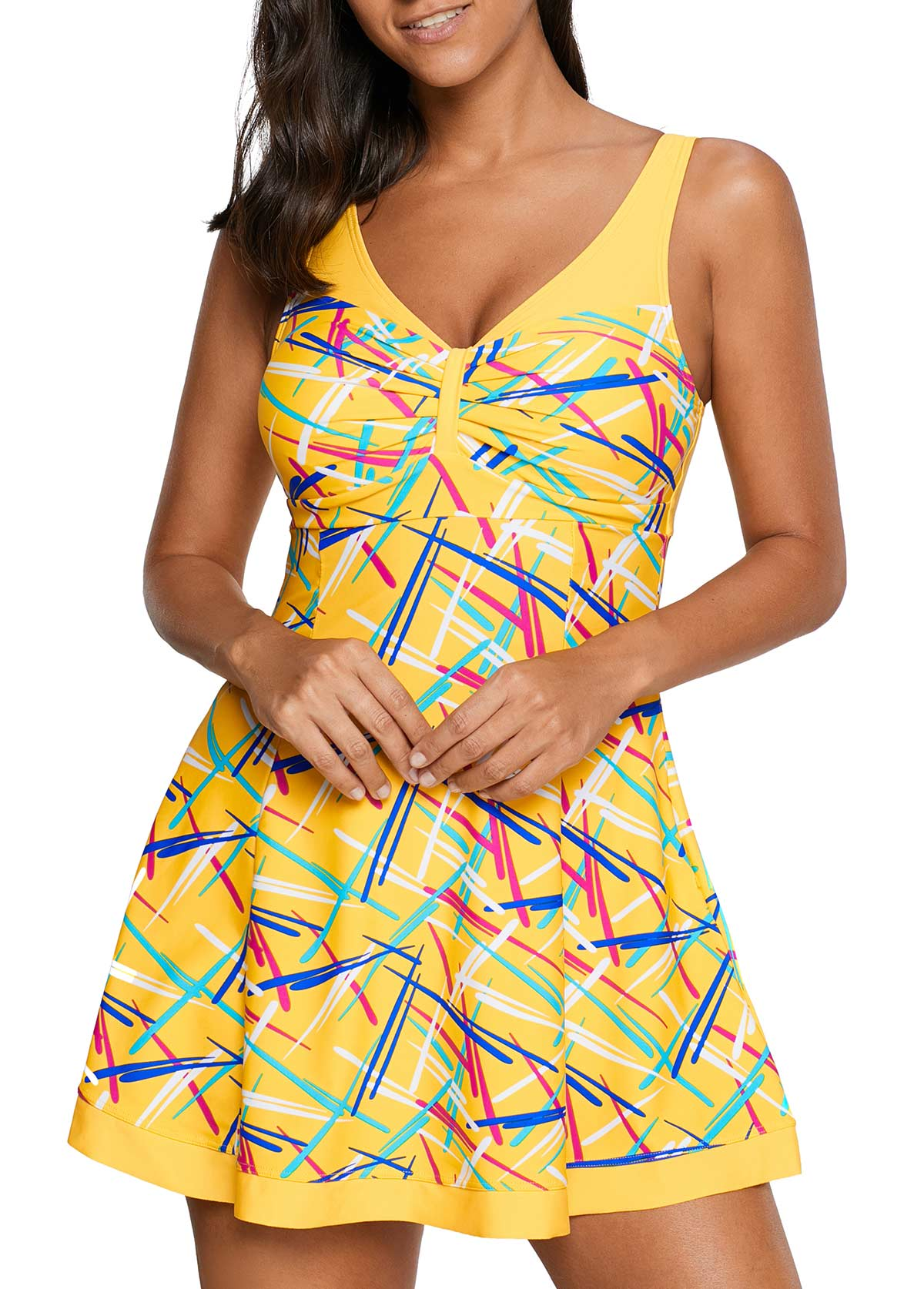 Yellow V Neck Printed One Piece Swimdress