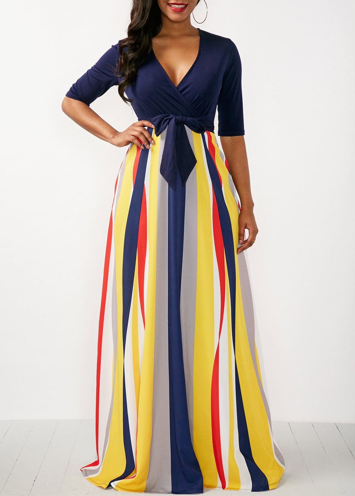Half Sleeve Striped V Neck Maxi Dress