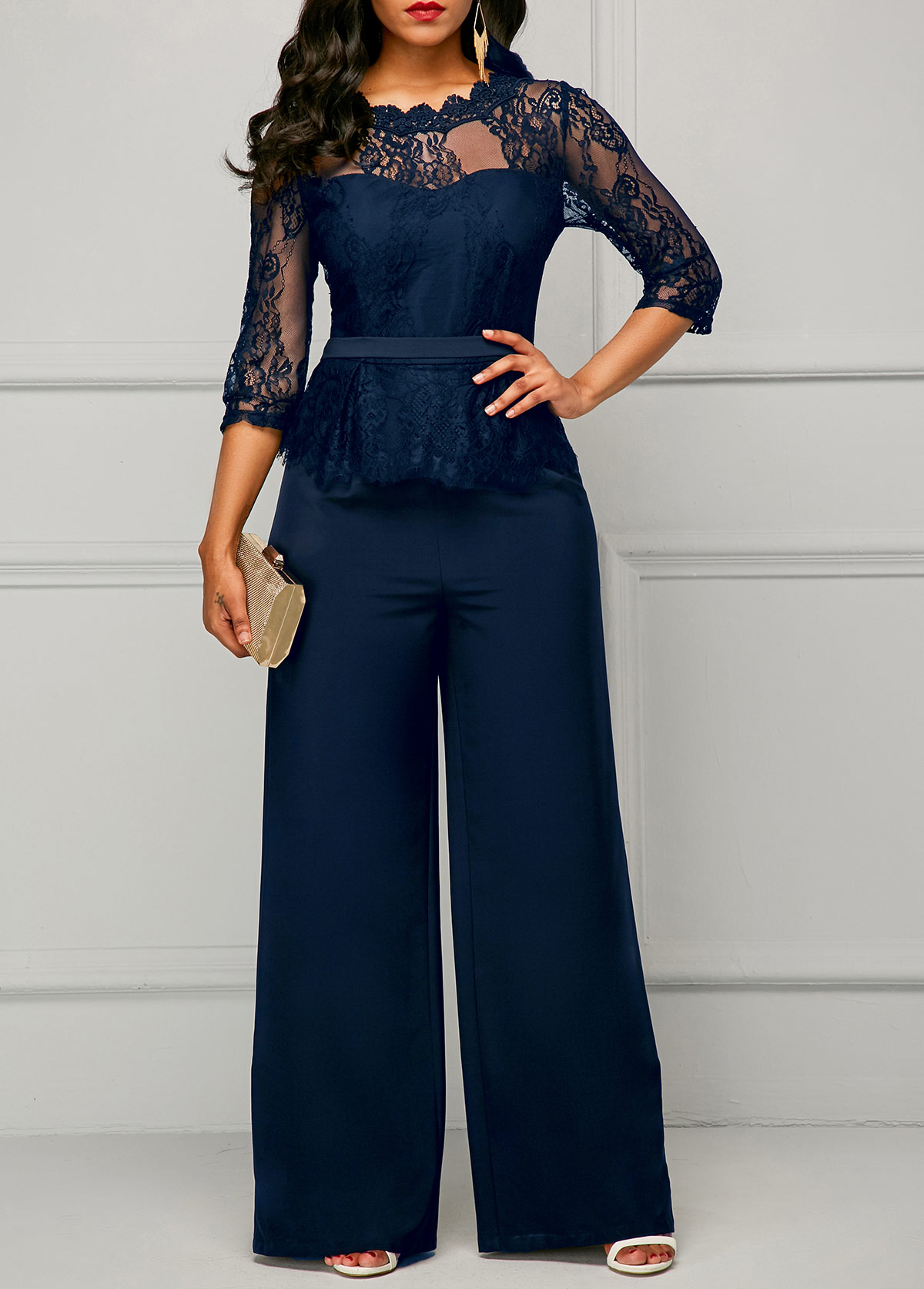 Three Quarter Sleeve Lace Panel Navy Jumpsuit