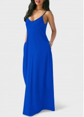 wholesale Royal Blue Spaghetti Strap Maxi Dress