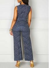 wholesale V Neck High Waist Printed Sleeveless Jumpsuit