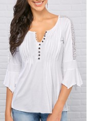 White Three Quarter Sleeve Split Neck Blouse