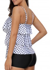 wholesale Polka Dot Print Asymmetric Hem Tankini Set
