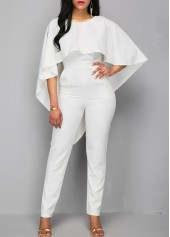 wholesale V Back Zipper Closure White Cloak Jumpsuit