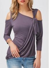 wholesale Cold Shoulder Asymmetric Hem Deep Grey T Shirt