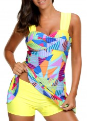Wide-Strap-High-Waist-Padded-Swimdress-and-Shorts