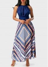 wholesale Sleeveless Band Waist Printed Maxi Dress