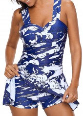 Printed Padded Ruched One Piece Swimdress